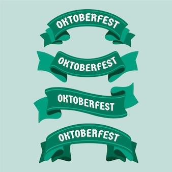 Плоский дизайн фестиваля пива октоберфест зеленые ленточки