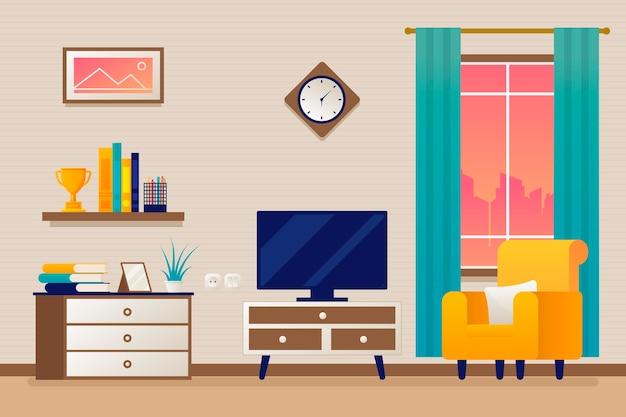 ビデオ会議用のモダンな室内装飾