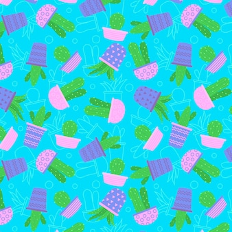 ピンクの鍋のシームレスなパターンコレクションのサボテン