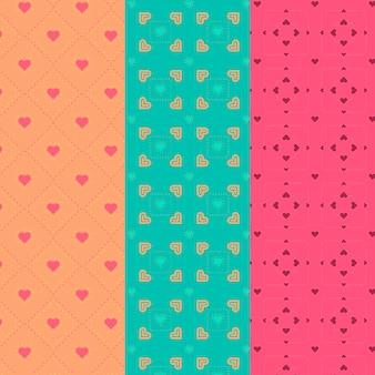 さまざまなハートデザインのシームレスパターンコレクション