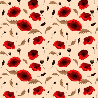 Цветочный узор с маками