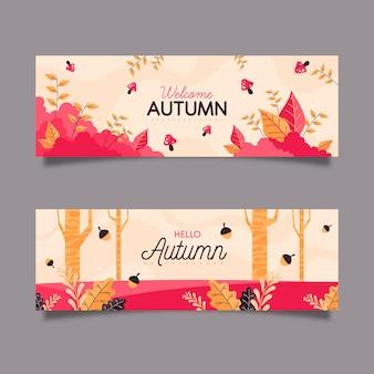 平らな秋のバナーのコンセプト
