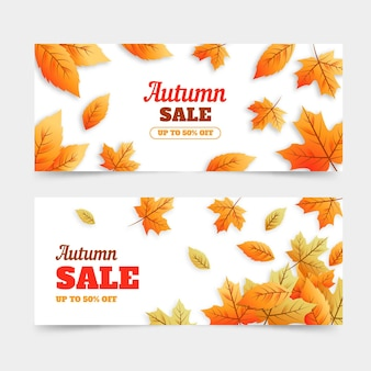 フラットなデザインの秋販売バナー