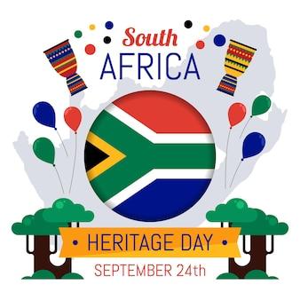 フラットなデザインの南アフリカ遺産の日のコンセプト