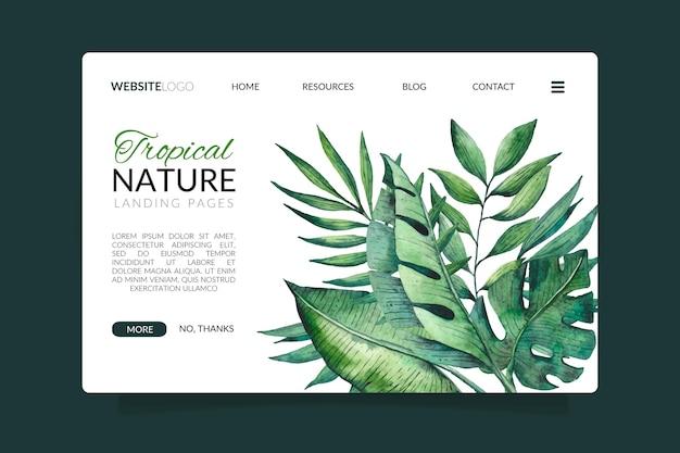 エキゾチックな葉のあるランディングページのある熱帯の自然