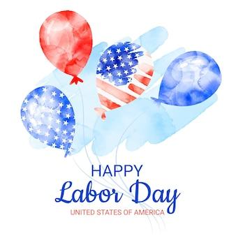 水彩風船アメリカ労働者の日