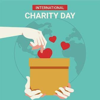 Плоский дизайн международного дня благотворительной концепции