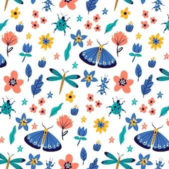 さまざまな昆虫とカラフルなパターン