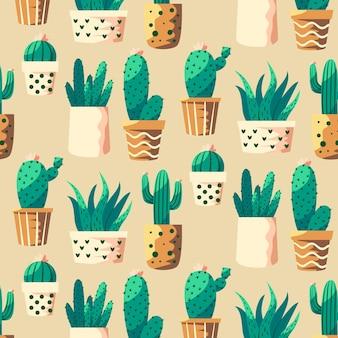 さまざまなサボテンの植物とカラフルなパターン