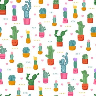 サボテンの植物とカラフルなパターン