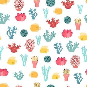 さまざまなサンゴとカラフルなパターン