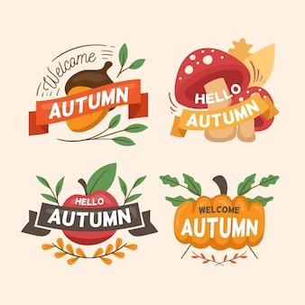 手描きの秋のバッジコレクション