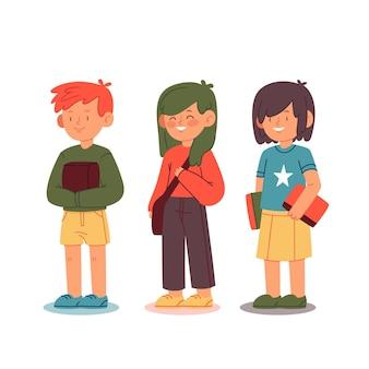 手描きの子供たちは学校に戻る