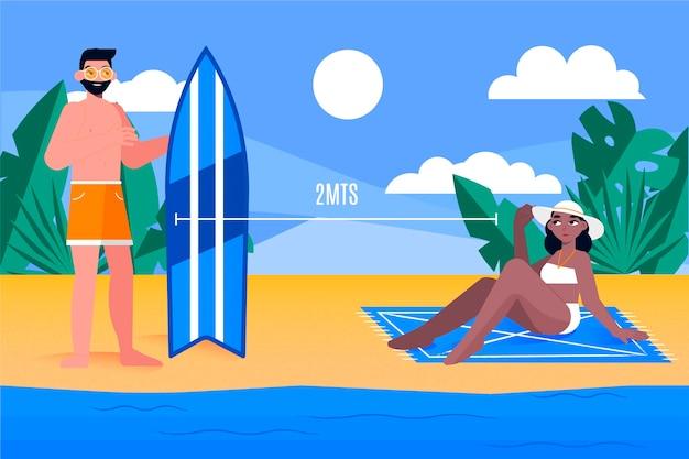 ビーチでの社会的距離