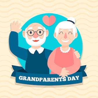 フラットなデザインの祖父母の日の背景