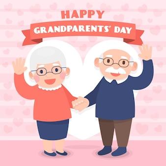 フラットなデザインの背景の祖父母の日