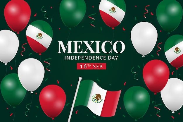 紙吹雪とメキシコ独立風船の背景