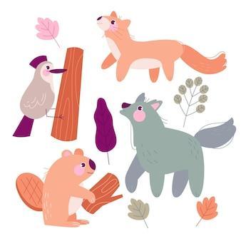 手描きの秋の森の動物イラスト
