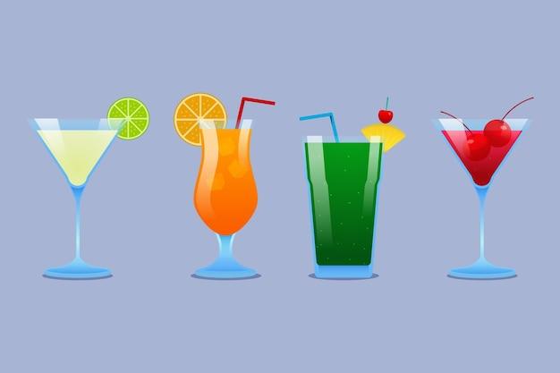 Коллекция мягких плоских дизайнерских коктейлей в различных бокалах
