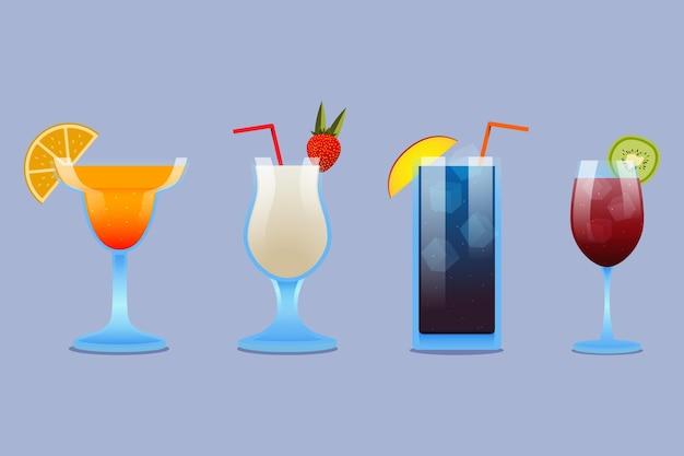 Набор плоских дизайнерских коктейлей в различных стаканах
