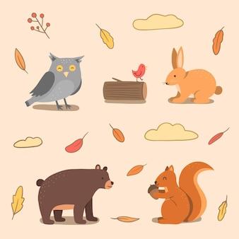 秋の森の動物コレクション