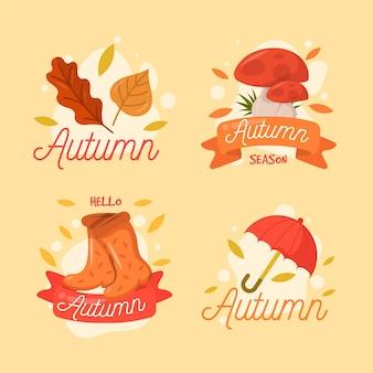 手描きの秋のラベルコレクション