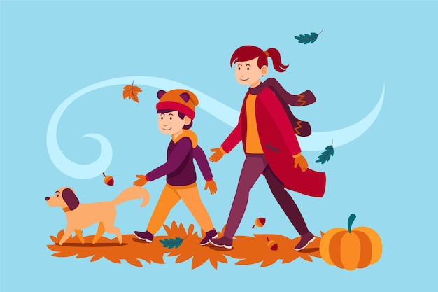 Люди, идущие осенью с собакой