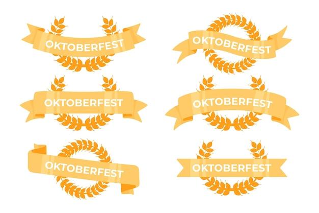 Плоский дизайн коллекции лент октоберфест