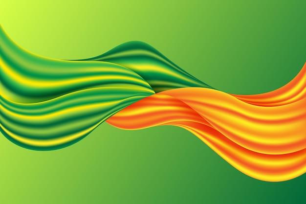 オレンジと緑の色の流れの背景