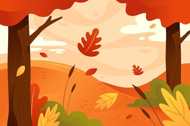 Осенний фон с падающими листьями