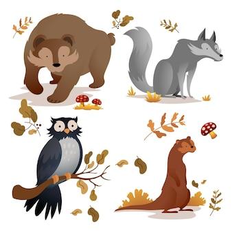 秋の森の動物セット