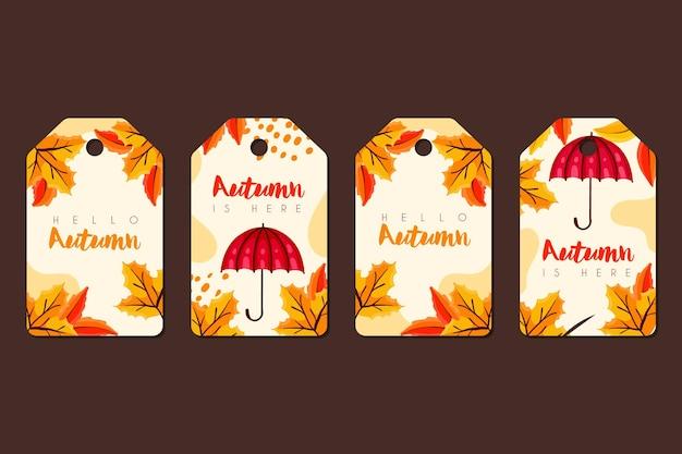 手描きの秋のラベルのセット