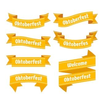 フラットなデザインのオクトーバーフェストの黄色いリボン