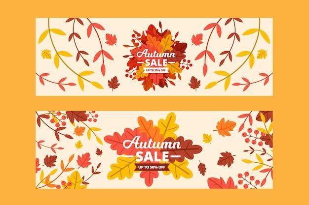 フラットなデザインの秋のセール割引バナー