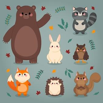 秋の森の動物手描きデザイン