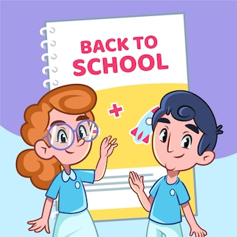 学校のコンセプトに戻る漫画の子供たち