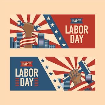 フラット労働者の日米国バナー