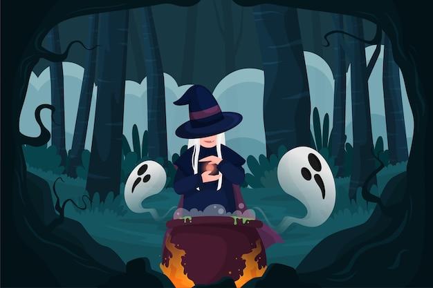 Плоский хэллоуин фон
