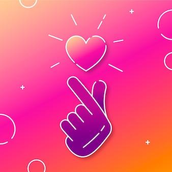 グラデーションイラストの指の心