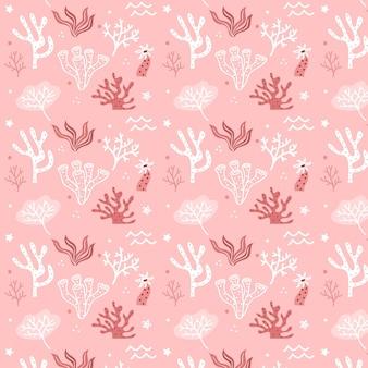 海藻とピンクのサンゴパターンテンプレート