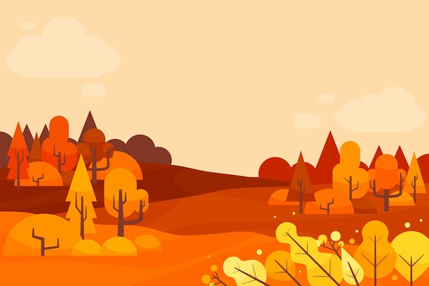 木とフラットなデザインの秋の背景