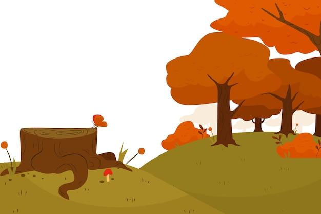 木と平らな秋の背景