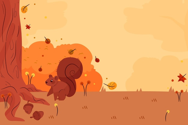 Плоский осенний фон с лесным животным