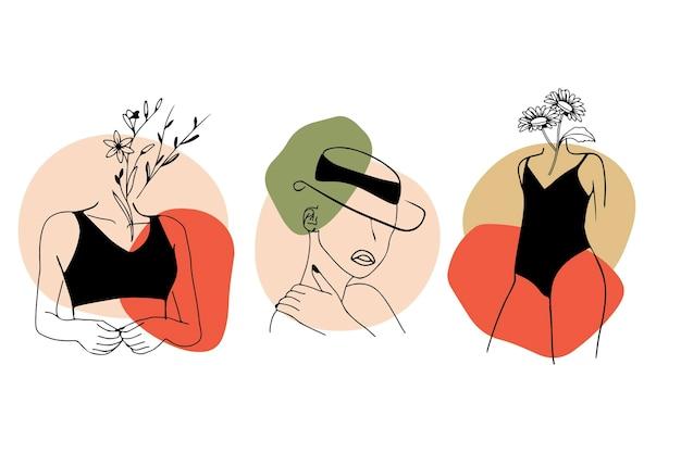 エレガントなラインアートスタイルセットの女性