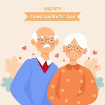 祖父母の日背景フラットデザイン