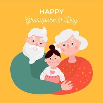 孫娘とフラットなデザインの祖父母の日