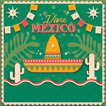 День независимости мексики в бумажном стиле