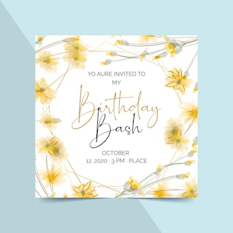 Элегантный шаблон приглашения на день рождения с цветами