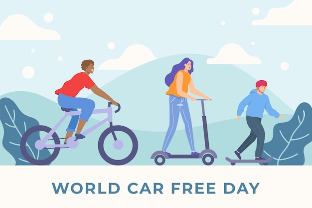 Плоский дизайн мира без автомобиля день