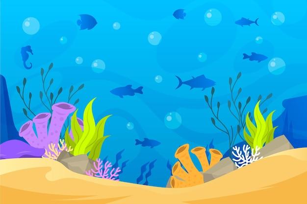 オンラインビデオ会議のための魚のシルエットの背景